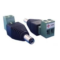 Professionele Voeding plug female 5.5mm/2.1mm met schroefaansluiting